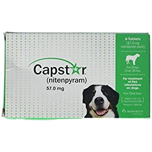 Capstar Fast-Acting Oral Flea Treatment for Large Dogs, 6 Doses, 25.1 – 125 lbs (Previous Packaging) 6