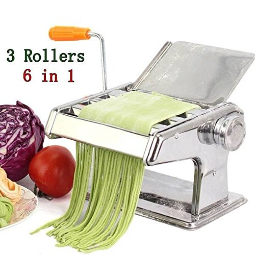 C&C Products 304 Stainless Steel Pasta Maker Machine 3 Rollers Manual Multi-Functional Noodle Maker Machine