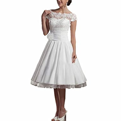 d212dd0b49 JinXuanYa Cap Sleeve Lace Short White Ivory Wedding Dress Bridal Gown  (UK14