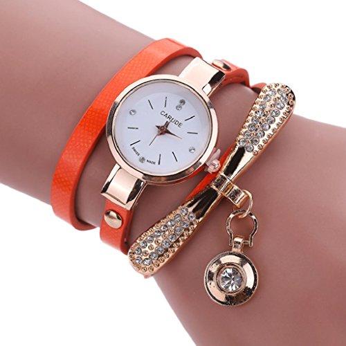 Hosamtel Ladies Quartz Rhinestone Wrist Watches Leather Strap Analog Watch (Orange)