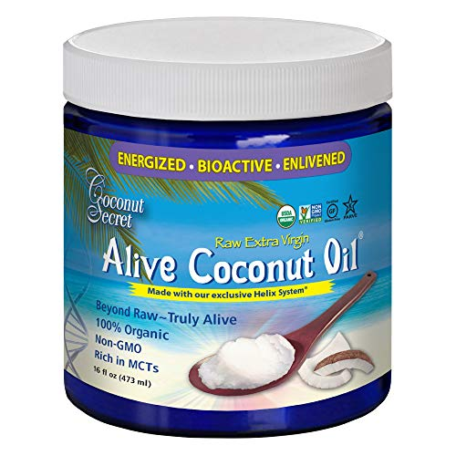Coconut Secret Alive Coconut Oil - 16 fl oz - Raw Extra Virgin Coconut Oil for Skin, Cooking, High in MCTs - Organic, Vegan, Non-GMO, Gluten-Free, Kosher - 32 Total Servings (Virgin Coconut Oil Brands In The Philippines)