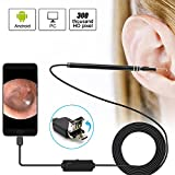 Kaleno 2 in 1 USB Ear Cleaning Endoscope Camera, Digital Otoscope Inspection Camera HD Visual Earpick Tool with Adjustable 6 LED Lights for Android and PC