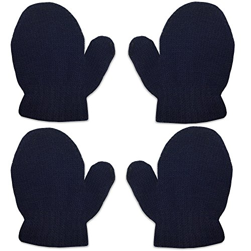 2 Pair Pack Infant Baby Boys Girls Mittens Warm Knitted for Winter Gloves (2 Pack Navy (6 Pair Pack Navy Accessories)