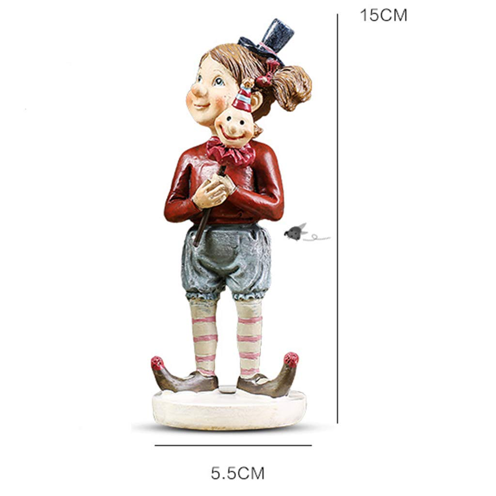 Ornaments for Home-Creative Circus Clown Decoration Ornaments Living Room Art Home Crafts Gifts 178 (Color : B)