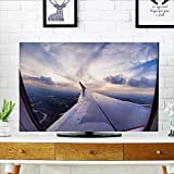 Auraisehome Front Flip Top Collection Airplane Travel Time is Sunset Business Distant Evening Float Holiday Horizon Journey Front Flip Top W19 x H30 INCH/TV 32''