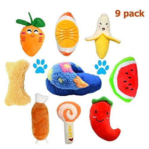 AOAMEET 9 Pack Squeaky Fruits and Vegetables Plush Puppy Dog Toys, Squeaky Dog Chew Toys Set for Puppies Small Medium Dogs