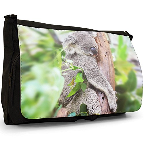 Australian Tops Koala School Koala Large Bag Canvas Shoulder Black Laptop Messenger Bag Grey Tree High In RaRpwxZ