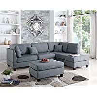 Benzara BM168775 Linen Fabric Sectional Sofa with Ottoman, Gray