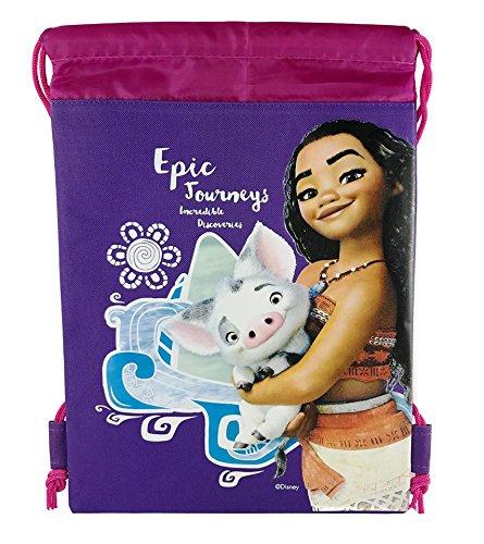 Set of 2 Disney Moana 10'' X 14'' Drawstring Backpack Heavy Duty Nylon Tote Bag Color
