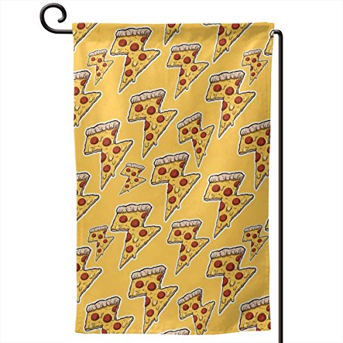 Private Bath Customiz Thunder Cheesy Pizza Garden Flag Vertical Double Sided 12.5 X 18 Inch Spring Summer Welcome Yard Decor Double Sided]()