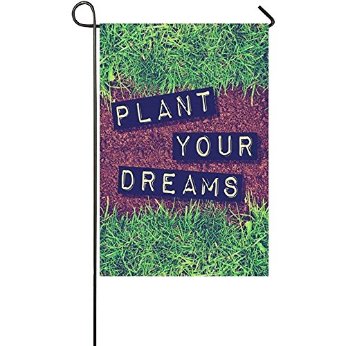 YQZsay Plant Your Dream Quote Polyester Garden Flag House Banner 12 x 18 inch, Dirt and Grass Decorative Flag for Wedding Party Yard Home Outdoor Decor (Car Dirt Dream)