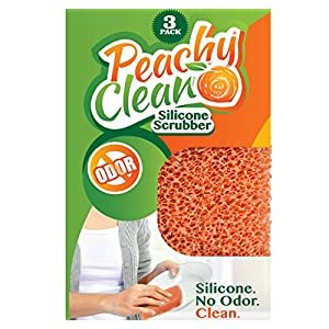 Antimicrobial Silicone Scrubber by Peachy Clean (Qty 3) - Kitchen and Dish Scrubber