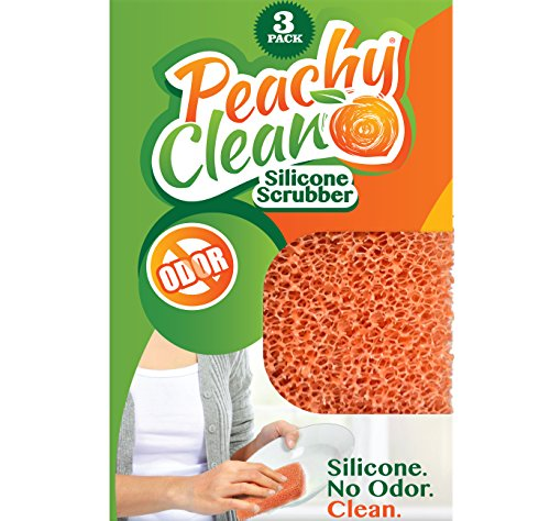 Peachy Clean Antimicrobial Silicone Scrubber (Qty 3) - Kitchen and Dish Scrubber