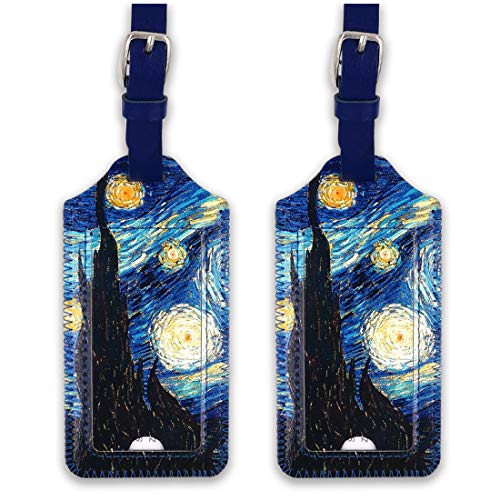 kandouren Luggage Tags 2 Pieces Set,Van gogh Starry Night PU Leather travel bag tags for cruise ships,for men and women (Ships Designs Gogh Van)