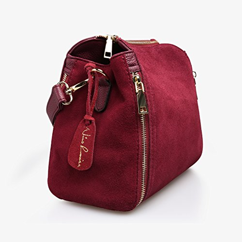 Women Real Suede Leather Shoulder Bag Leisure Doctor Handbag For Female Girls Top-handle (Burgundy) by Nico louise (Image #3)