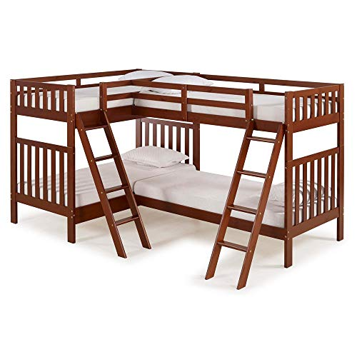- Bolton Furniture Aurora Twin Over Twin Bunk Bed with Quad-Bunk Extension, Chestnut