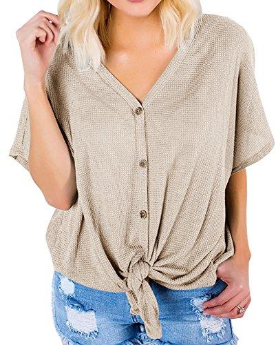 Bbalizko Womens Short Sleeve V Neck Bottom Casual Lightweight Lace Up Cardigan Sweaters (Short Sleeve Knit Cardigan)