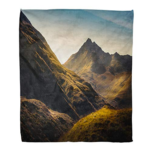 (Emvency Throw Blanket Warm Cozy Print Flannel Blue Scottish Mountains in Highland Scotland Green Rock Comfortable Soft for Bed Sofa and Couch 60x80 Inches)