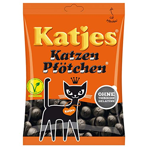 Katjes Cat's Paws Licorice Vegetarian Soft Gummi Candy Original from Germany 200g = 7.05oz -