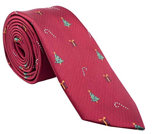 Holiday Christmas Ties for Men - Red Tie with Christmas Trees, Presents, and Candy Canes - Cool Mens Neckties ()