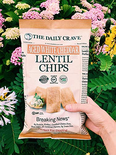 The Daily Crave Aged White Cheddar Lentil Chips, 4.25 Oz (Pack Of 8) 4 G Protein, Gluten-Free, Non-Gmo, Kosher, Crunchy