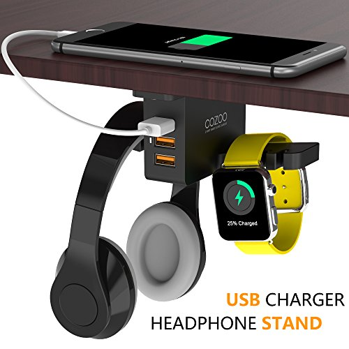 - Headphone Stand with USB Charger COZOO Under Desk Headset Holder Mount with 3 port USB Charging Station and Apple Watch Stand Smart Watch Charging Dock Dual Earphone Hanger Hook for All Headphones