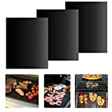 BBQ Grill Mat - Set of 3 Non-stick Grill Mats Reusable Grilling Mats Dishwasher Safe Barbecue Utensil for Meat Biscuit Baking by iLOME