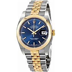 Rolex Datejust 36 Blue Dial Stainless Steel and 18K Yellow Gold Rolex Jubilee Automatic Mens Watch 116203BLSJ