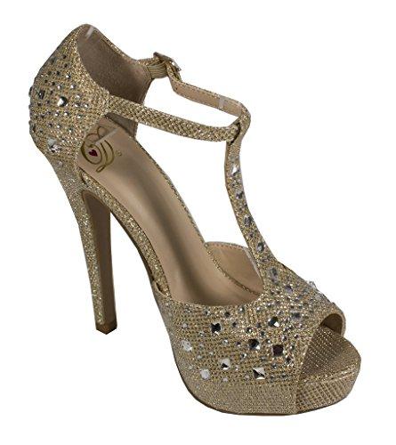 Lustacious Womens Peep Toe T-strap Strass Diamante Tacco Alto Dorsay Pumps Luccichio Oro Chiaro