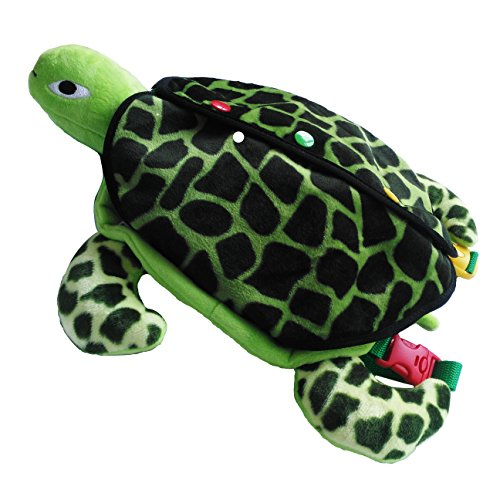 Yoovi Montessori Learn to Dress Toys Sea Turtle Backpack Toys – Zip, Snap, Button, Buckle,and Tie Kids Early Learning Basic Life Skills Toys