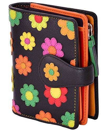 Sunshine DS-80 Womens Floral Multi Colored Bifold Wallet - Black Multi