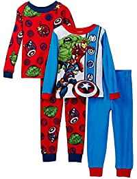Marvel Avengers Boys 4-Piece Cotton Pajama Set, Kids Size 10