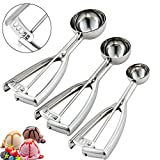 Cookie Scoop Set, Ice Cream Scoop Set, 3 PCS Metal Ice Cream Scoop Trigger Include Large-Medium-Small Size, Select 18/8 Stainless Steel, Secondary Polishing