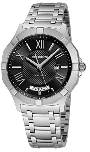 Concord Saratoga Mens Stainless Steel Classic Watch - 40mm Black Face with Second Hand, Day Date and Sapphire Crystal Analog Quartz Watch - Metal Band Swiss Made Nice Luxury Watches for Men 0320348
