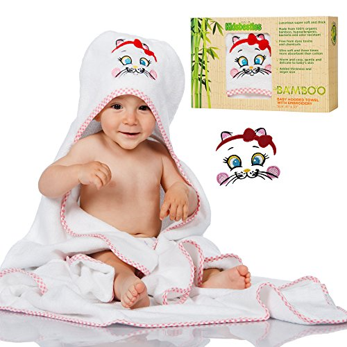 Kids Besties Baby Bath Towel set including Baby Hooded Towel and Baby Washcloth Large size made of Organic Bamboo 600 GSM thick with cat embroidery on the hood White color and pink edge