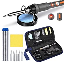 PICTEK Soldering Iron Kit,【ON/OFF Switch & LED Indicator Design】220~480℃ Temperature Adjustable Electric Welding Tool with 5pcs Soldering Tips, Tip Cleaner Soldering Station and Solder Wire, 60W 110V