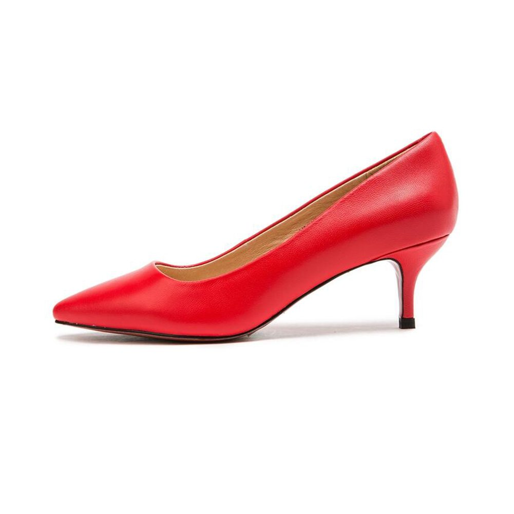 Red MKJYDM Women's Retro Shallow Mouth High-Heeled shoes Smooth shoes Spring and Summer Casual Heel Height 6cm Women's high Heels (color   Red, Size   EU38 UK5.5 CN38)