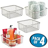 mDesign Household Square Wire Storage Organizer Bin Basket for Bathroom Cabinets, Shelves, Closets, Bedrooms, Kitchens - 9.75'' x 9.75'' x 4.25'', Pack of 4, Satin