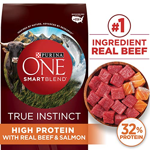 Purina ONE Natural, High Protein Dry Dog Food, SmartBlend True Instinct with Real Beef & Salmon – 27.5 lb. Bag