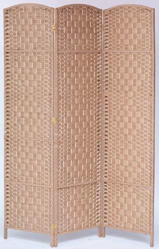 Legacy Decor 3 Panel Diamond Weave Fiber Room Divider, Natural Color