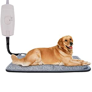 Homello Pet Heating Pad for Cats Dogs, Waterproof Electric Heating Mat Indoor, Adjustable Warming Mat, Pets Heated Bed with Chew Resistant Steel Cord