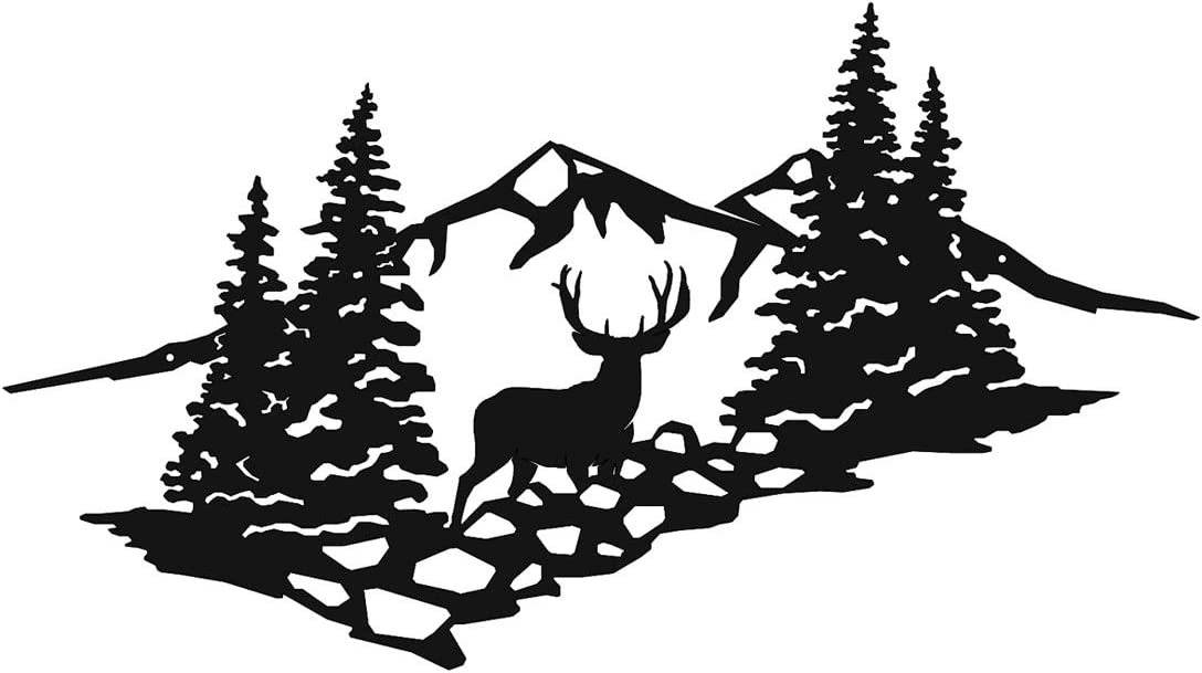 High Country Muley Mountain Scene Laser Cut Metal Wall Art Sign for Home Cabin Garage Decor