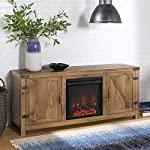 "Walker Edison Farmhouse Barn Wood Fireplace Stand for TV's up to 64"" Flat Screen Living Room Storage Cabinet Doors and Shelves Entertainment Center, Barnwood"