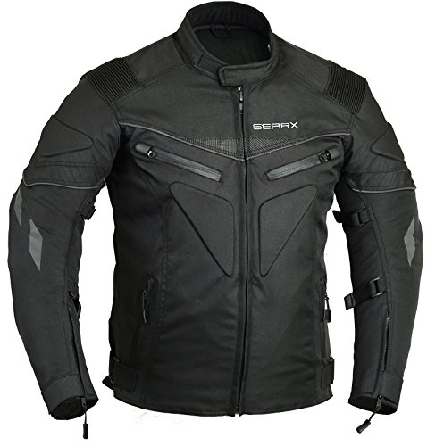 Spine Paded Motorcycle Jacket Waterproof Breathable with Armours, XL Black (Cordura Motorcycle Jacket Mens)
