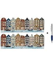 16 Luxe Stans Kerst- en Nieuwjaarskaarten met Pen - Hollandse grachtenpanden - 22x8cm - Gevouwen Kerstkaarten met enveloppen