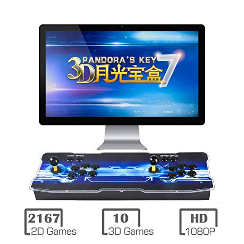 - 3D Pandora Key 7 Arcade Console | 2177 Games Pre-loaded | Support 2D/3D Games | Add More Games | Full HD (1920x1080) Video | Support 4 Players | 2 Player Game Controls | HDMI/VGA/USB/AUX Audio Output