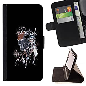 DEVIL CASE - FOR Samsung Galaxy A3 - Fight Watercolor Art Warrior Cartoon Comic - Style PU Leather Case Wallet Flip Stand Flap Closure Cover