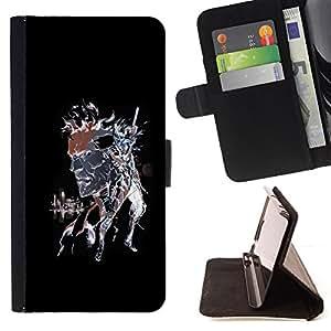 BullDog Case - FOR/Samsung Galaxy S6 EDGE / - / Punk Skull Splash /- Monedero de cuero de la PU Llevar cubierta de la caja con el ID Credit Card Slots Flip funda de cuer