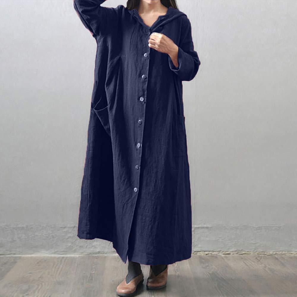 ALIKEEY Harrystore Mujeres con Capucha Vestido Largo Holgado Suelto Casual Vestido De Manga Larga Chaqueta con Capucha: Amazon.es: Ropa y accesorios