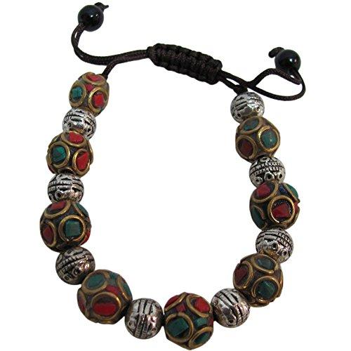 - Nepali Handmade Tibetan Yoga Coral Turquoise Ball Bead Shambala Adjustable Bracelet